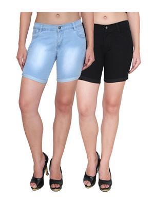 Ansh Fashion Wear WS-2CM-6 Black-Blue Women Shorts Pack Of 2