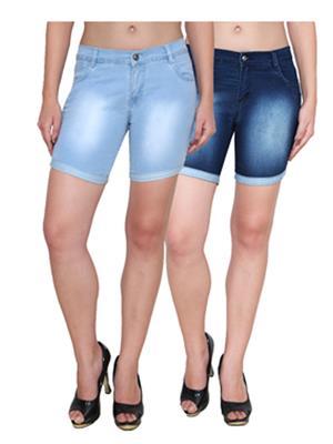 Ansh Fashion Wear WS-2CM-9 Blue Women Shorts Pack Of 2