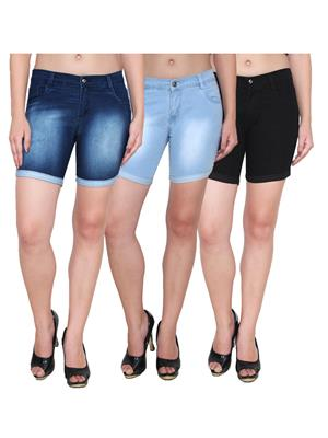 Ansh Fashion Wear WS-3CM-10 Blue-Black Women Shorts Pack Of 3