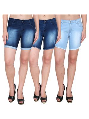 Ansh Fashion Wear WS-3CM-12 Blue-Black Women Shorts Pack Of 3