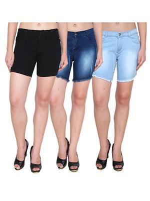 Ansh Fashion Wear WS-3CM-15 Blue-Black Women Shorts Pack Of 3