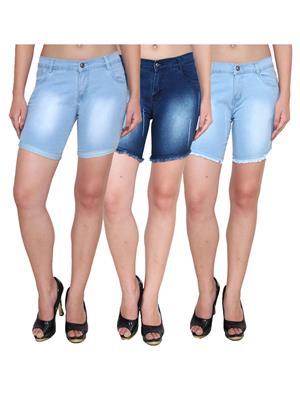 Ansh Fashion Wear WS-3CM-18 Blue Women Shorts Pack Of 3