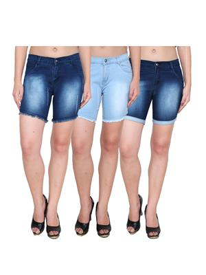 Ansh Fashion Wear WS-3CM-1 Blue Women Shorts Pack Of 3