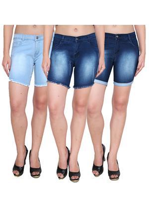 Ansh Fashion Wear WS-3CM-26 Blue Women Shorts Pack Of 3