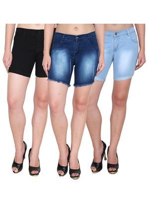 Ansh Fashion Wear WS-3CM-29 Blue-Black Women Shorts Pack Of 3