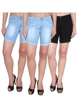 Ansh Fashion Wear WS-3CM-33 Blue-Black Women Shorts Pack Of 3