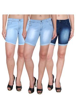 Ansh Fashion Wear WS-3CM-45 Blue Women Shorts Pack Of 3