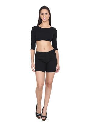 Ansh Fashion Wear WS-BLK Black Women Short