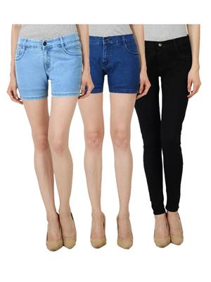 Ansh Fashion Wear WS-LBS-DBS-WJ-BLK Blue Women Shorts With Jeans