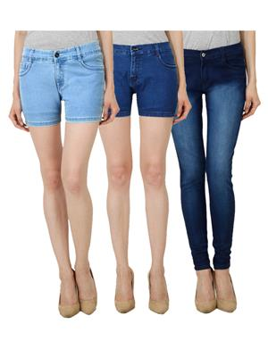 Ansh Fashion Wear WS-LBS-DBS-WJ-DBM Blue Women Shorts With Jeans