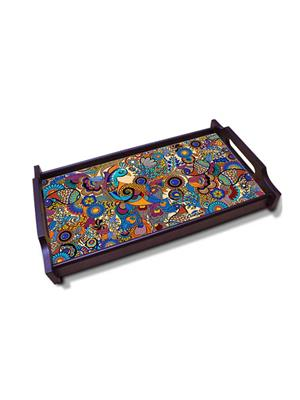 Kolorobia    WTMPE02 Fascinating Peacock Illustration Wooden Tray
