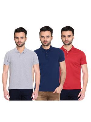 X-CROSS 1012 Multicolored Men T-Shirt Set Of 3