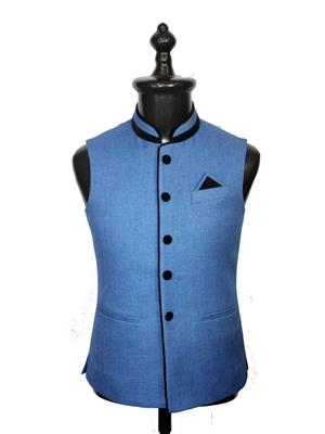 Young Fashion YF16 Blue Men Single Breasted Waistcoat Fabric
