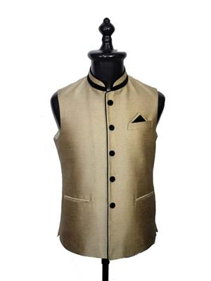 Young Fashion YF17 Golden Men Single Breasted Waistcoat Fabric
