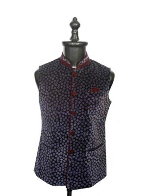 Young Fashion YF18 Deep Blue Men Single Breasted Waistcoat Fabric