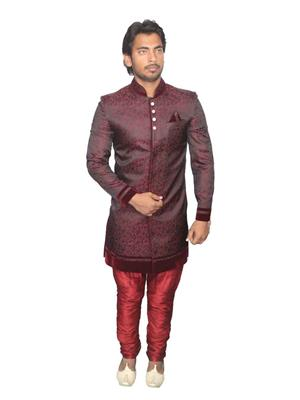 Young Fashion YF2 Maroon Men Sherwani and Churidar Set Fabric