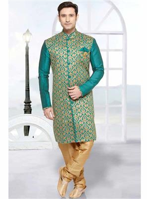 Young Fashion YF32 Pecock Blue Men Sherwani and Churidar Set Fabric