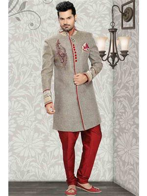 Young Fashion YF33 Grey Maroon Men Sherwani and Churidar Set Fabric