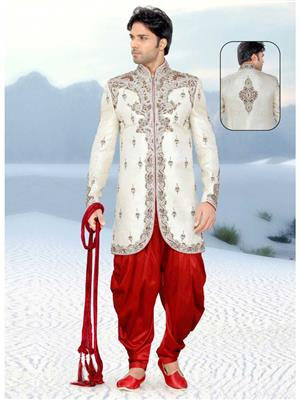 Young Fashion YF34 White Red MenSherwani and Churidar Set Fabric