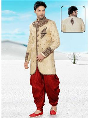 Young Fashion YF35 Beige Maroon Men Sherwani and Churidar Set Fabric