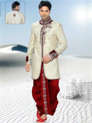 Young Fashion YF36 White Maroon Men Sherwani and Churidar Set Fabric