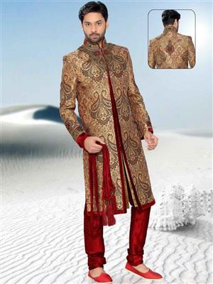 Young Fashion YF38 Brown Maroon Men Single Breasted Suit Fabric