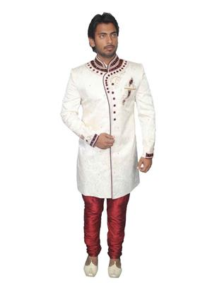 Young Fashion YF3 White Maroon Men Sherwani and Churidar Set Fabric