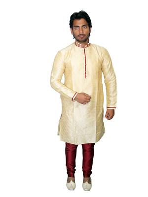 Young Fashion YF5 Beige Maroon Men Sherwani and Churidar Set Fabric