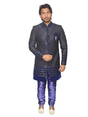 Young Fashion YF6 Dark Blue Men Sherwani and Churidar Set Fabric
