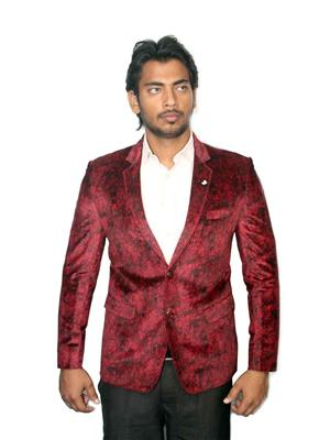 Young Fashion YF8 Maroon Men Single Breasted Suit Fabric