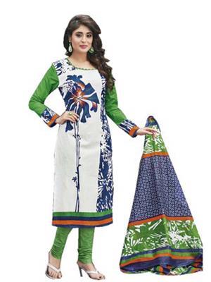 Zubin Textiles Z28 White  Women Dress Materials