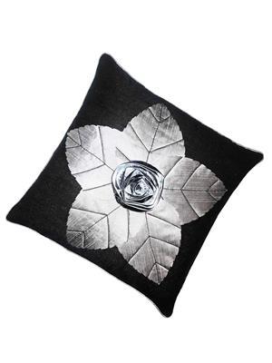 ZIKRAK EXIM ZE5408 Laser Flower Cushion Covers Black 40X40 Cms _Pack Of 1_