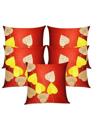 ZIKRAK EXIM ZE5427 Heart Felt Patch Rust Cushion Covers  40X40 Cms _Pack Of 5_