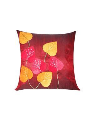 ZIKRAK EXIM ZE5428 Heart Felt Patch Maroon Cushion Covers  40X40 Cms _Pack Of 1_