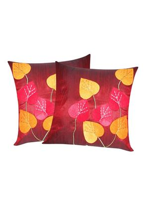ZIKRAK EXIM ZE5429 Heart Felt Patch Maroon Cushion Covers  40X40 Cms _Pack Of 2_