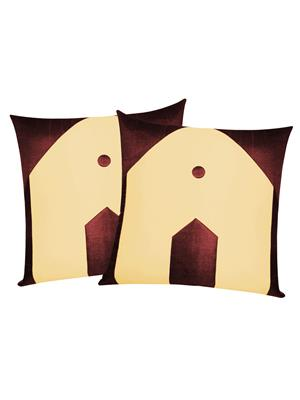 ZIKRAK EXIM ZE5437 Hut Design Beige N Brown Cushion Covers  40X40 Cms _Pack Of 2_
