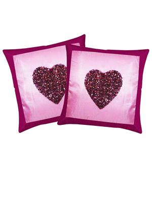 ZIKRAK EXIM ZE5984 Hand Made Beaded Purple Heart Cushion Covers 40 X 40 Cms (2 Pcs Set)