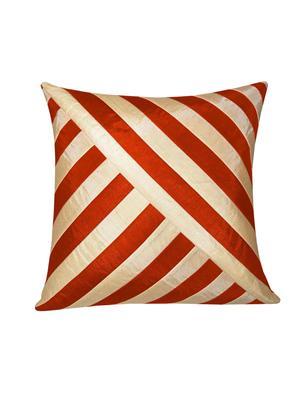 ZIKRAK EXIM ZEBC102 Oblique Design Floors cushion Cover Rust N Beige 50X50 Cms