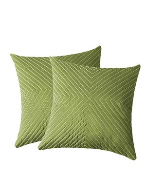 ZIKRAK EXIM ZEBC173 Verticle Thread Floors Cushion Cover Green 50X50 Cms-Pack-2