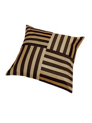 ZIKRAK EXIM ZEBC174 Cross Patti Floors Cushion Cover Beige N Brown 50X50 Cms