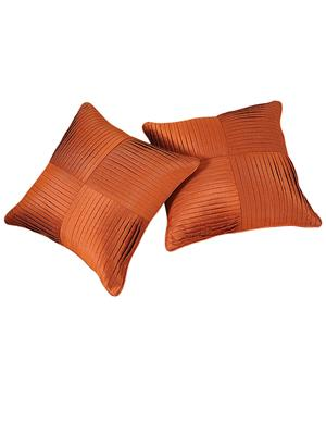 ZIKRAK EXIM ZEBC183 Cross Pleated Floors Cushion Cover Rust 50X50 Cms-Pack-2