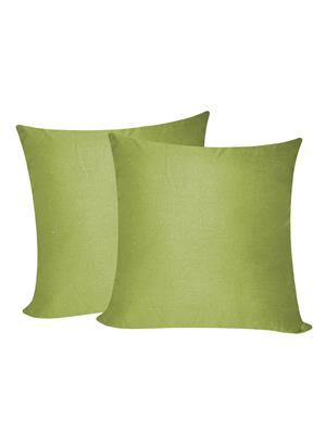 ZIKRAK EXIM ZEBC195 Solid Plain Floors Cushion Cover Green 50X50 Cms-Pack-2