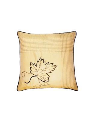 ZIKRAK EXIM ZEBC297 Leaf Embroidery Floors Cushion Cover Beige 50X50 Cms