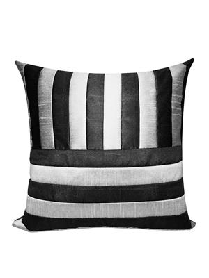 ZIKRAK EXIM ZEBC379 Straight & Cross Patti Floors Cushion Cover Black N Silver 50X50 Cms