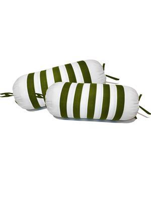 ZIKRAK EXIM ZEBL118 Straight Stripe White & Green Bolster Covers 30X60 Cms - (Pack of 2)