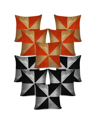ZIKRAK EXIM ZECOMB15 Gig Design Cushion Covers Combo Biege,Orange/Grey,Black 40 x 40 cms(10 pcs set)