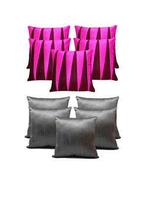 ZIKRAK EXIM ZECOMB61 Plain & Zig Zag Cushion Covers Combo Grey & Pink 40 x 40 cms(10 pcs set)