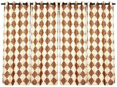 ZIKRAK EXIM ZECRW112 VECTOR DESIGN WINDOW CURTAIN BEIGE AND BROWN  4 PCS SET (48 X 60 INCHES)