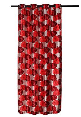 ZIKRAK EXIM ZECR133 PIPAL LEAVES PRINTED CURTAIN RED 1 PC (48 X 84 INCHES)