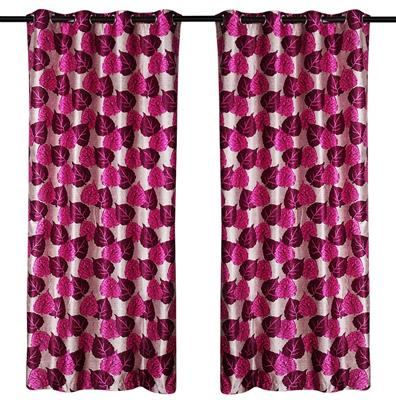 ZIKRAK EXIM ZECR142 PIPAL LEAVES PRINTED CURTAIN PURPLE 2 PCS SET (48 X 84 INCHES)